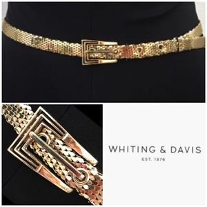 WHITING & DAVIS Vintage Gold Mesh Statement Belt L